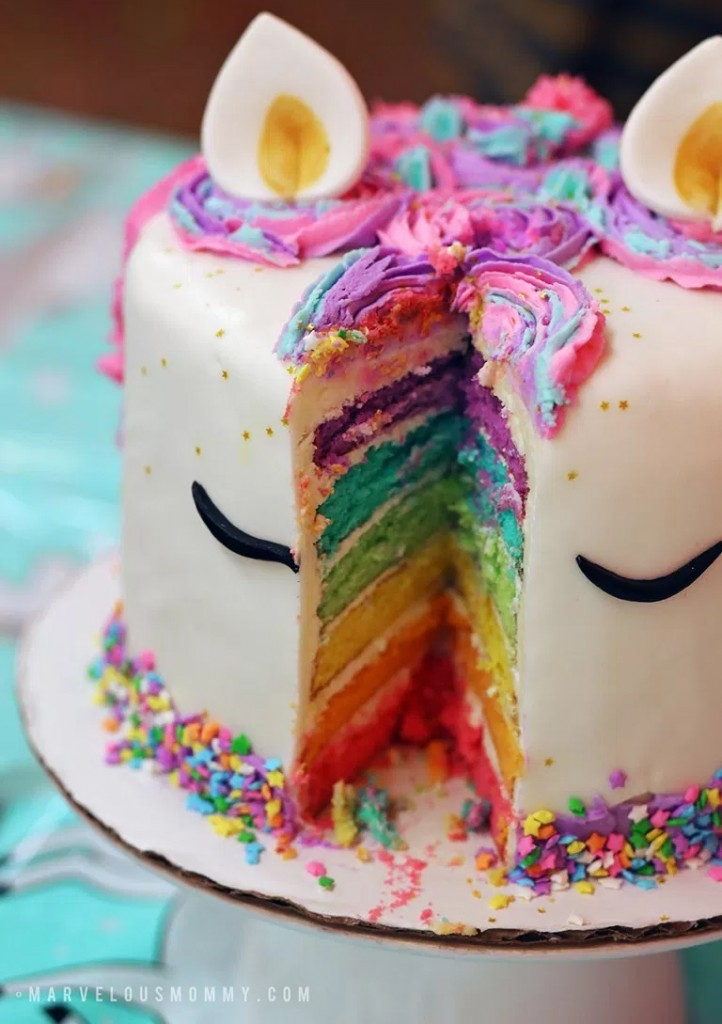 fiesta de unicornio tarta
