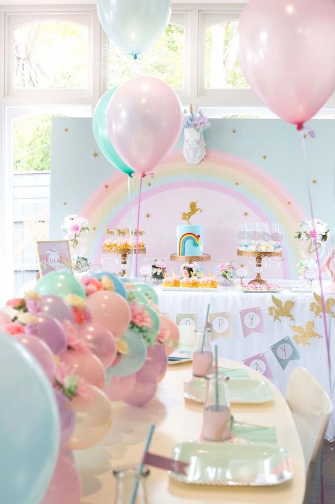fiesta de unicornio camino globos