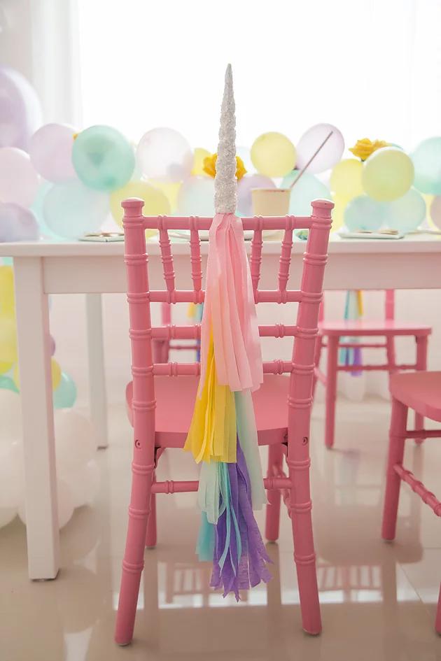 fiesta de unicornio silla tassel