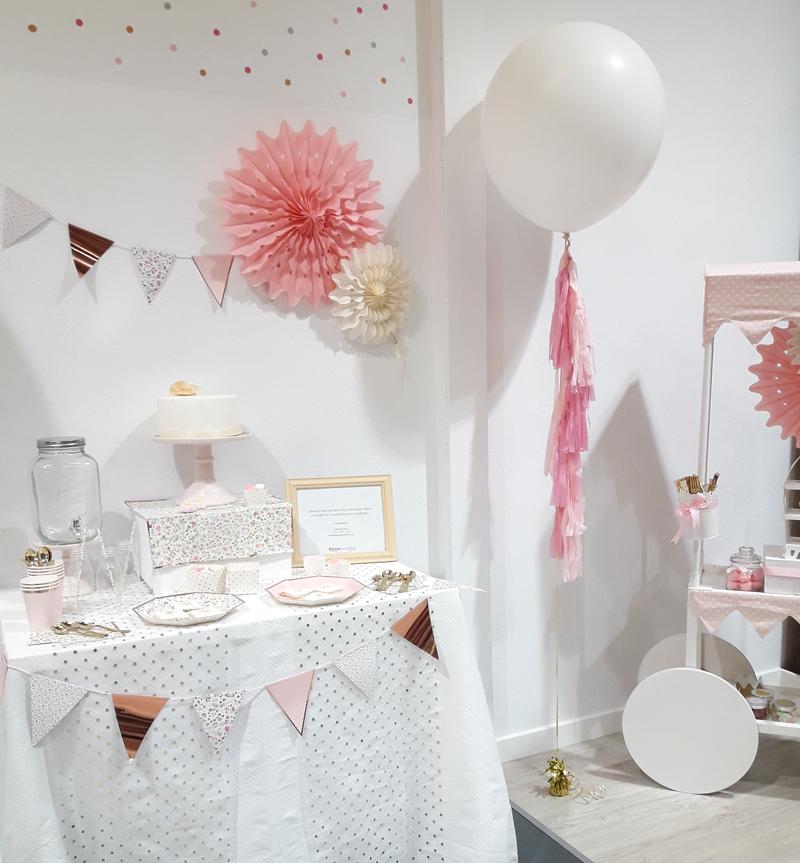 mesas dulces de comunión rosa